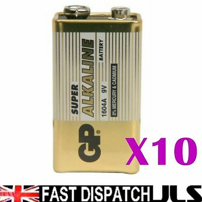 10  x GP SUPER 9V Batteries MN1604 6LR61 PP3 BLOCK 6LF22 ALKALINE
