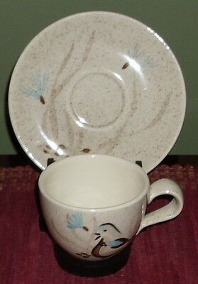 Red Wing ~ Bob White ~ Cup & Saucer ~ Hand Painted