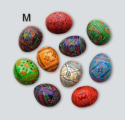 "10 Wooden Easter Eggs, Geometric Style,Medium Size 1 3/4""X1 1/4"", Wooden Pysanka"
