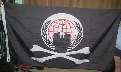 Anonymous hacker Pirate crossbone Flag 5 foot Banner  Anon 4Chan Internet