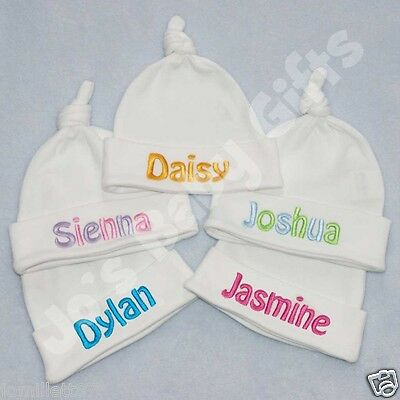 Personalised Baby Knotted Hat, ADD ANY NAME! Birth/Christening Gift
