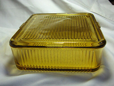 FEDERAL AMBER 8 INCH SQUARE REFRIGERATOR DISH EXCELLENT CONDITION