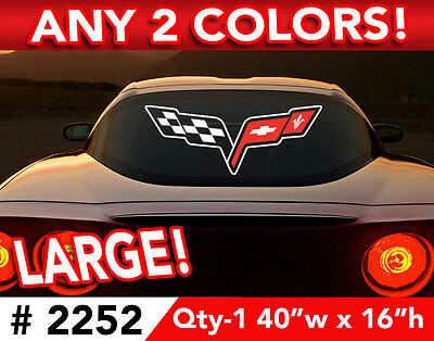 """CORVETTE C6 LARGE CAR OR WALL DECAL STICKER 40""""h x 16""""w ANY 2 Colors"""
