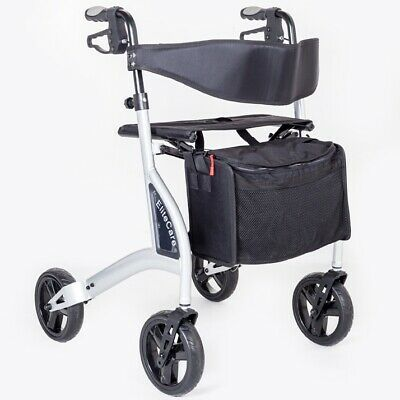 Ultra lightweight 4 wheel rollator walking aid frame with seat Lightest in UK