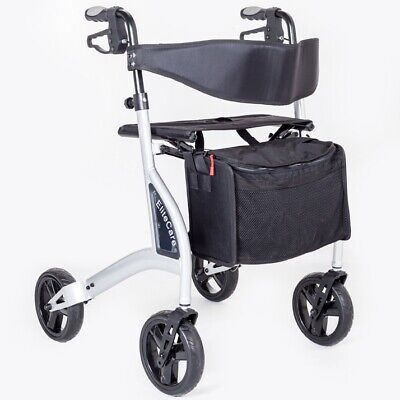 Ultra lightweight 4 wheeled rollator walking frame with seat Lightest in the UK