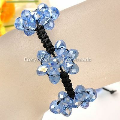 1p Hand-Knitted Lake Blue Crystal Disco Glass 3-Flower Braided Bracelet New