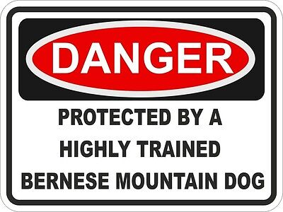 1x DANGER PROTECTED BY BERNESE MOUNTAIN DOG WARNING FUNNY STICKER DOG PET DECAL