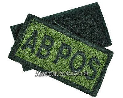 Military Embroidered Blood Type AB POS Velcro Patch Olive Drab