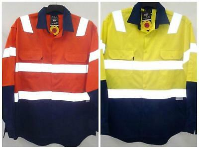 Hi vis Cotton Drill safety work shirt long sleeve reflective tape S- 3 XL