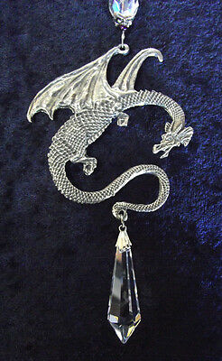 Dragon & Crystal Celtic Medieval Pewter Magic Hobbit Good Luck Car Suncatcher