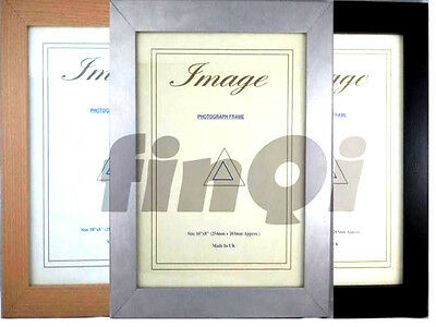 Photo Picture Frames Stand or Hang, Black Silver & Teak Various Sizes FN30