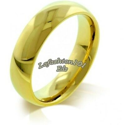 5MM WOMENS IPG Gold STAINLESS STEEL WEDDING BAND RING SIZE 8 -r10162