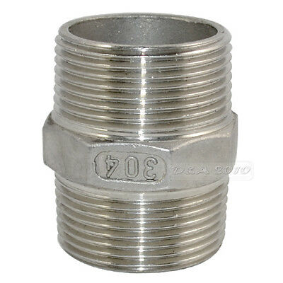 "Nipple 1 1/4"" Male x 1.125"" Male 304 Stainless Steel threaded Pipe Fitting NPT"