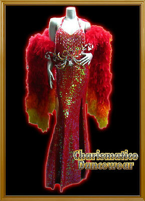 Custom Red Sequin Drag pageant Gown + Feather Collar