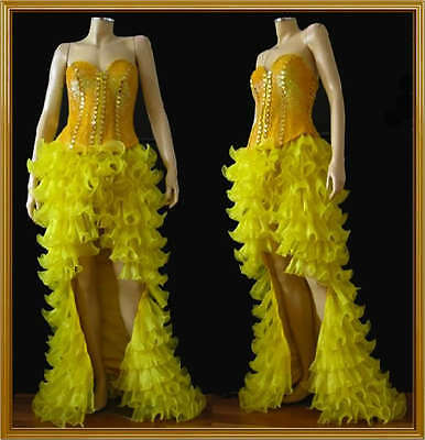 Custom SHOWGIRL DRAG DANCE CORSET SEQUIN RUFFLE SKIRT