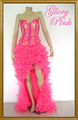 Tailor Pink Cabaret Pageant Prom Corset Ruffle Skirt