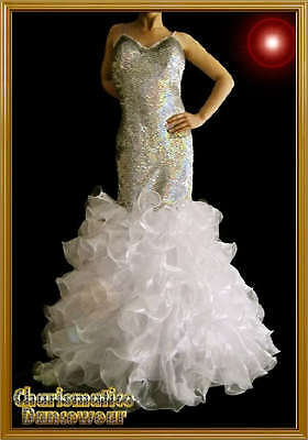 White Elegant Sequin Pageant Cabaret Mermaid Gown