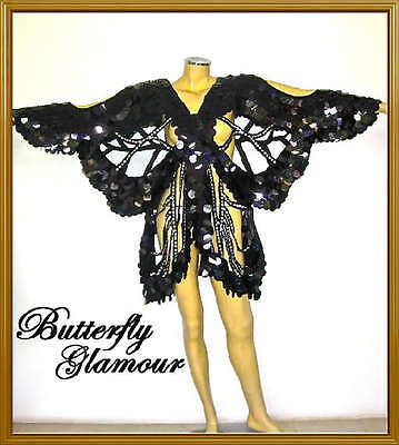 BLACK FANCY Drag Queen butterfly SEQUIN COVER up dress