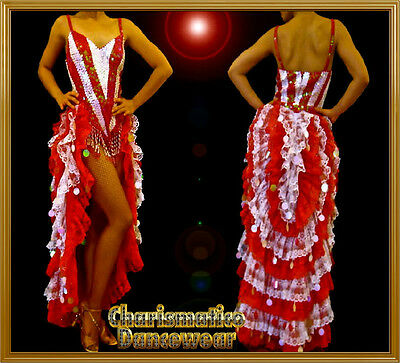 RED WHITE Sequin DIVA Drag BURLESQUE TAIL SKIRT Dress