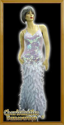 White Feather Elegant Swan Sequin Dance Pageant Gown