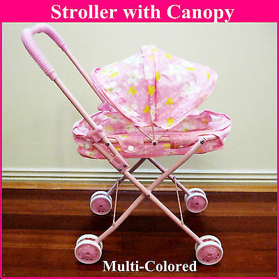 New Doll Baby Metal Stroller Pram with Canopy Girls Kids Set Toy