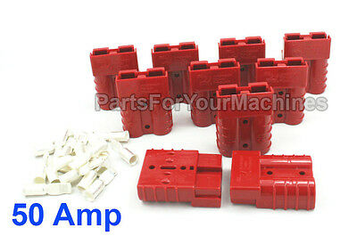 10 CHARGER PLUGS w/6 GAUGE CONTACTS, SMALL RED, 50 AMP, ANDERSON,VO MATERIAL