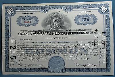 Vintage Bond Stores Inc MD Mens Suits 100 Shares Common Stock Certificate 1954