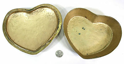 Heart Shaped Candy Dish - with Lid - Solid Brass - Hand Hammered - VINTAGE