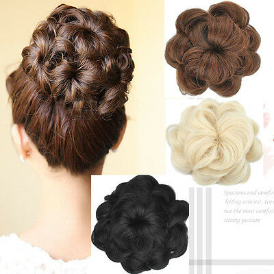 HOT SALE Girl's Lady Woman's Wave Hairpiece Buns Hair Extensions 5Colors KP15