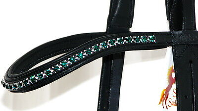 FSS 6mm Crystal EMERALD FOREST GREEN Bling Padded Curve V Browband Custom Made