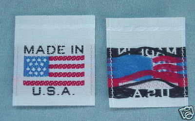 Made In U.s.a. American Flag Garment  Labels - 50 Pcs