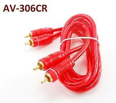 6ft 2-RCA Male to Male Red High Quality Audio Cable/Cord, CablesOnline AV-306CR
