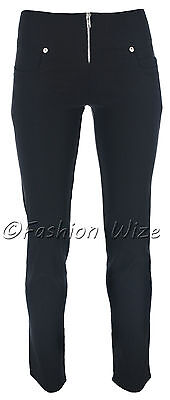 Ladies Girls Smart Trousers Casual Sizes 6 8 10 12 14 Skinny Leg Black Grey S8