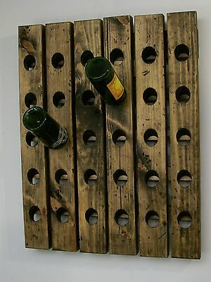 Wall Wine Riddling Rack Distressed Wood Handmade Wall Hanging