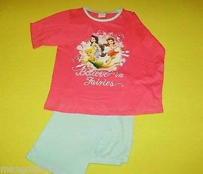 Girls Long Sleeved Disney Tinkerbell Quality Pyjamas Bnwt Pink & Aqua Age 5/6