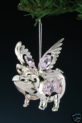 FLYING PIG ~SILVER PLATED FIGURINE MADE WITH BEST~*~AUSTRIAN CRYSTALS~*~