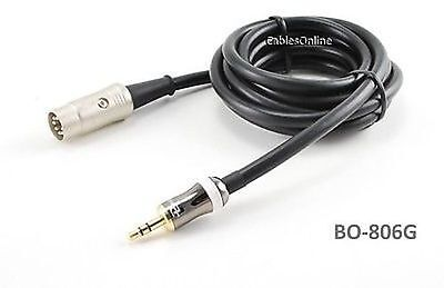 6ft 3.5mm Stereo iPod/MP3 Gold Plug to DIN-7 Audio Cable, BO-806G
