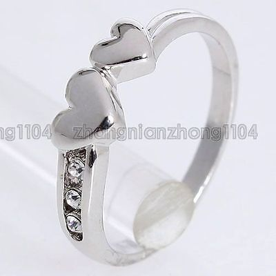 18k White GP 0.12ct Clear Crystal New Arrival Heart Ring 90354 Free Shipping
