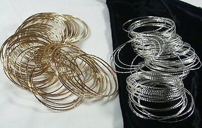 60 Thin Gold Or Silver Plated Children/kids Party Bangles/bracelet/party Bag New