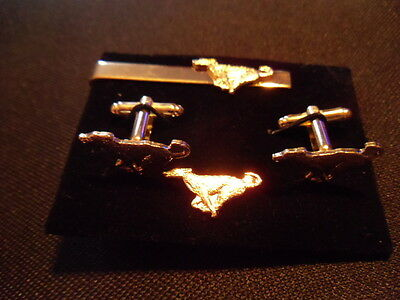Greyhound (gold coloured) Cufflink, tie slide lapel pin set, Lurcher, whippet