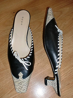 ANTHROPOLOGIE HYPE Black Leather Reptile Toe Low Pump Mules CHIC 6.5 M