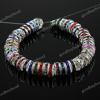 WHOLESALE CRYSTAL SILVER SPACER EUROPEAN BEADS BIG LOOSE JEWELRY FINDINGS 4X10MM