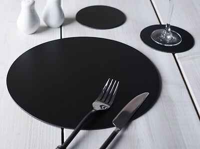 Set of 4 BLACK ROUND Leatherboard PLACEMATS & 4 COASTERS