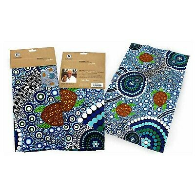 Australian Aboriginal Kitchen Tea Towel Sea Turtles Dreaming Australia Artist
