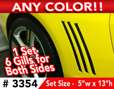 1 Set Of 2010 & Up Chevy Camaro Fender Side Gills Decal  Stickers In Any Color
