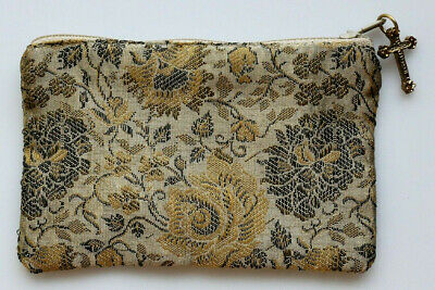 Tan Brocade Rosary Pouch