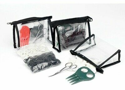 NEW Lincoln Horse Pony Mane Tail Plaiting Set In Case - Black / White / Brown