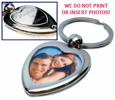Personalised Silver Love Heart Photo Keyring, Engraved Message Free