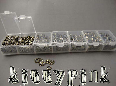 1510 Assorted Size Antique Gold Bronze Jumprings Open Jump Rings Storage Box