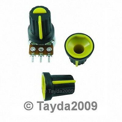 2 x Black Knob with Yellow Pointer - Soft Touch - High Quality - Free Shipping